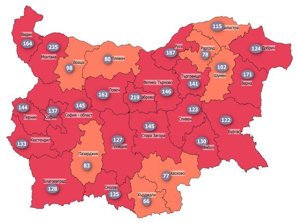 COVID заболеваемост: Осем области в страната са вече в оранжевата зона