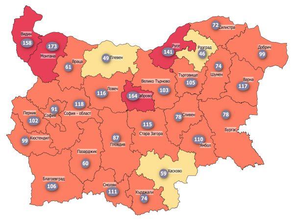 COVID заболеваемост: Три области в жълтата зона, само четири остават в червената