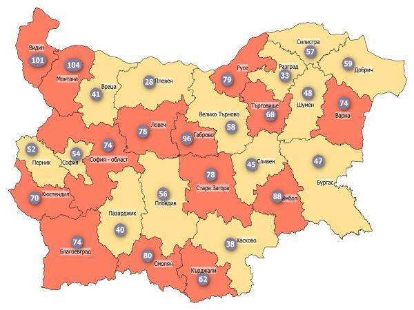 COVID заболеваемост: Половината страна е в жълтата зона, нито една област в червената