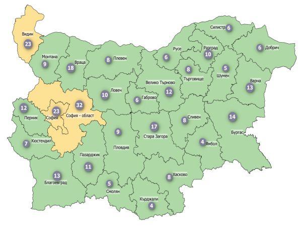 COVID заболеваемост: Три области в страната все още в жълтата зона