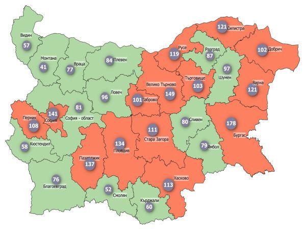 COVID заболеваемост: Две области в червено, само една в зелено