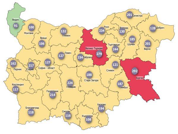 COVID заболеваемост: Една област вече в тъмночервено, 18 – в червено