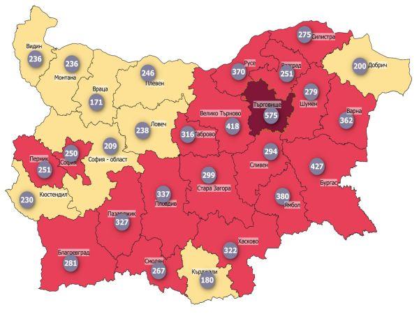 COVID заболеваемост: Страната достигна плато, 20 области са в червено