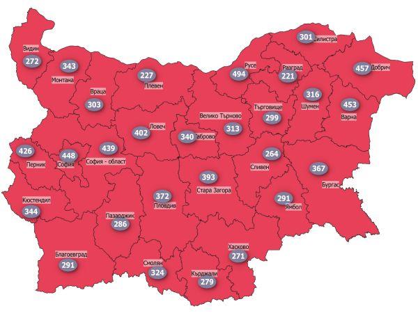 Заболеваемостта от COVID във всички области в страната е под 500 на 100 000 души
